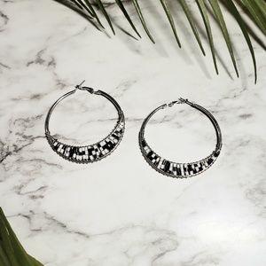 Hoop earrings black and white beaded earrings boho